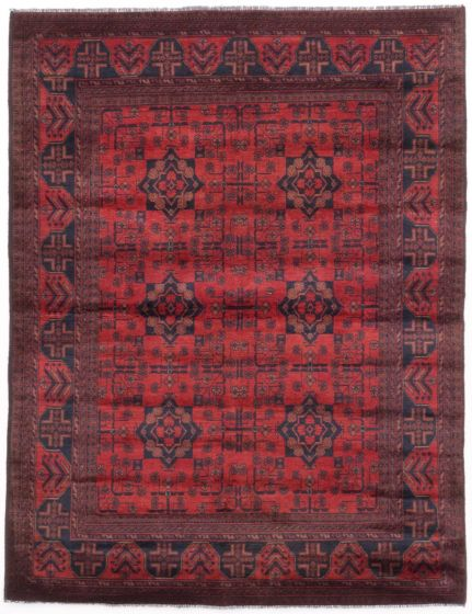 GeometricTribal Red Area rug 4x6 Afghan Hand-knotted 204629