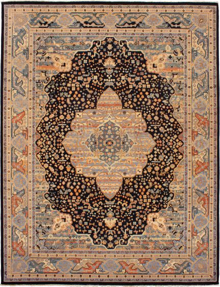 Bordered  Traditional Black Area rug 9x12 Indian Hand-knotted 271789