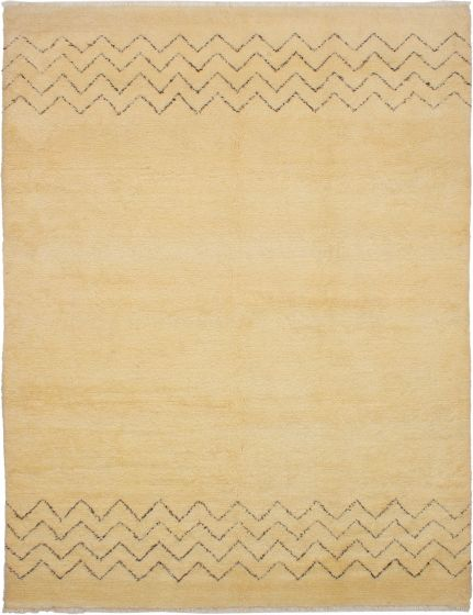 Moroccan  Transitional Ivory Area rug 8x10 Moroccan Hand-knotted 272186