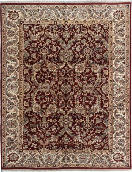 Bordered  Traditional Red Area rug 6x9 Indian Hand-knotted 280417