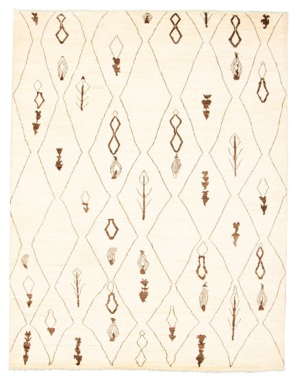 Moroccan  Tribal Ivory Area rug 6x9 Pakistani Hand-knotted 311262