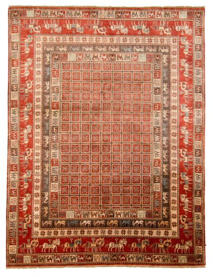 Tribal Red Area rug 9x12 Indian Hand-knotted 313337