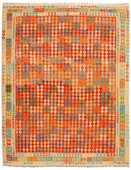 Bordered  Geometric Red Area rug 9x12 Turkish Flat-weave 329963