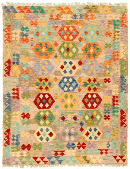 Bordered  Geometric Grey Area rug 4x6 Turkish Flat-weave 330257