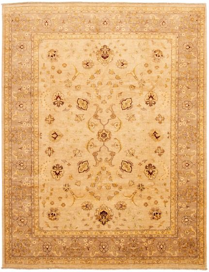 Bordered  Traditional Ivory Area rug 9x12 Afghan Hand-knotted 330615