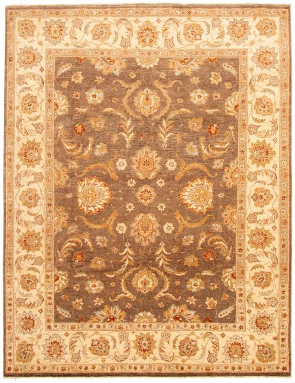 Bordered  Traditional Brown Area rug 6x9 Pakistani Hand-knotted 330621