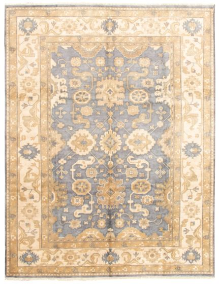 Bordered  Traditional Grey Area rug 9x12 Indian Hand-knotted 331314