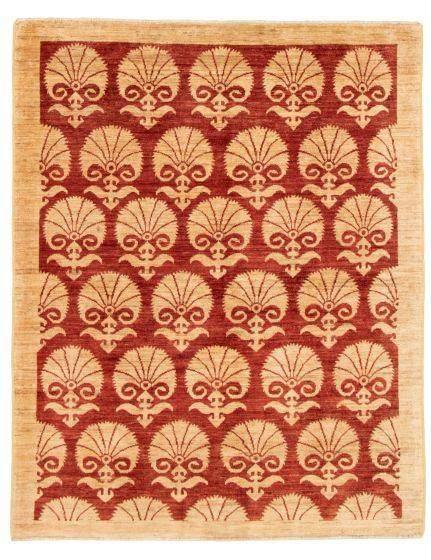 Casual  Transitional Red Area rug 4x6 Pakistani Hand-knotted 331495