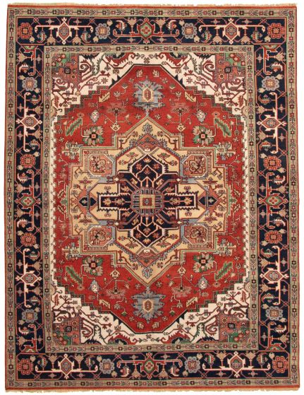 Bordered  Traditional Red Area rug 9x12 Indian Hand-knotted 331886