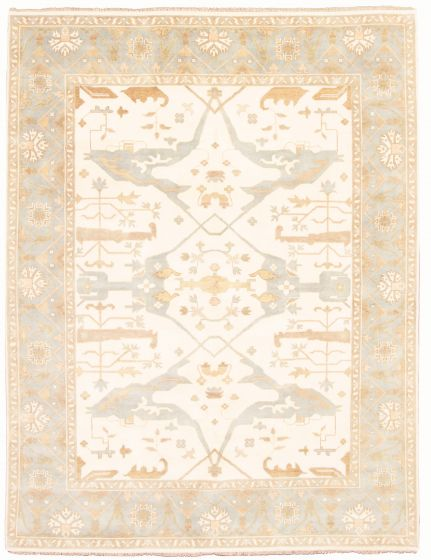 Bordered  Traditional Ivory Area rug 9x12 Indian Hand-knotted 331927