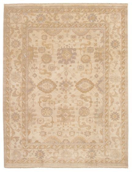 Bordered  Traditional Ivory Area rug 9x12 Indian Hand-knotted 337591