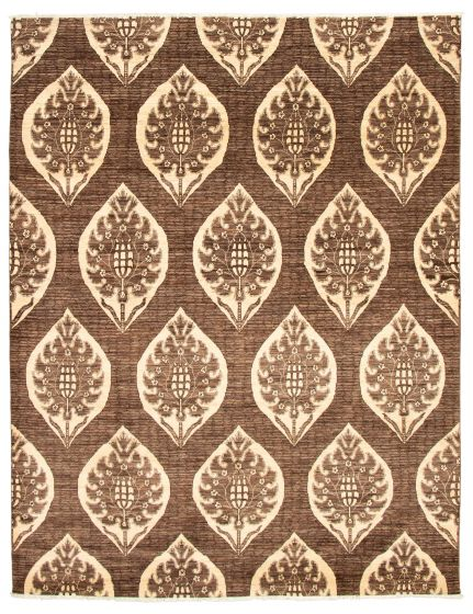 Casual  Transitional Brown Area rug 6x9 Pakistani Hand-knotted 338751
