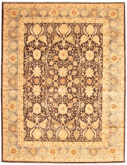 Bordered  Traditional Brown Area rug 12x15 Pakistani Hand-knotted 339176