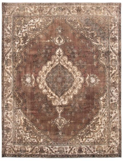 Bordered  Vintage Brown Area rug 9x12 Turkish Hand-knotted 342187