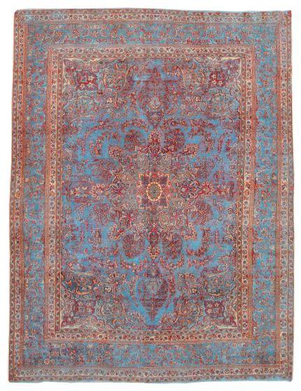 Bordered  Vintage Blue Area rug 9x12 Turkish Hand-knotted 342244