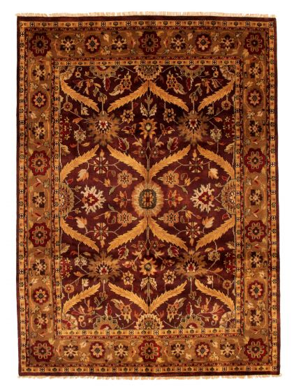 Bordered  Traditional Red Area rug 6x9 Indian Hand-knotted 349545