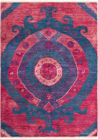 Casual  Transitional Red Area rug 6x9 Indian Hand-knotted 280522