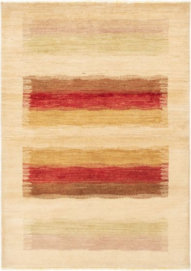 Stripes  Transitional Ivory Area rug 3x5 Afghan Hand-knotted 283507
