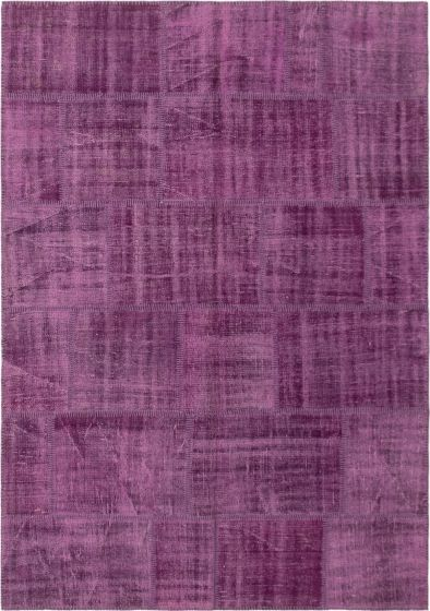 Casual  Transitional Purple Area rug 5x8 Turkish Hand-knotted 296079