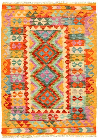 Bordered  Geometric Multi Area rug 3x5 Turkish Flat-weave 330184