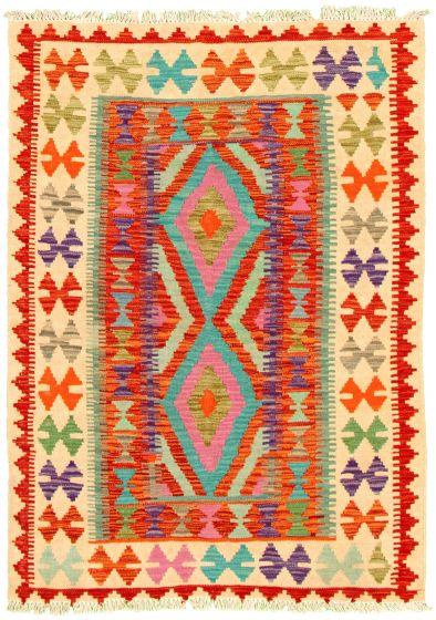 Bordered  Geometric Multi Area rug 3x5 Turkish Flat-weave 330196