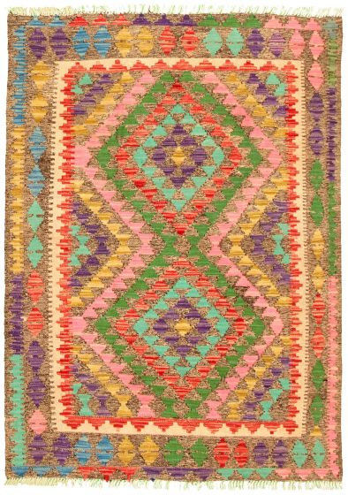 Bordered  Geometric Grey Area rug 3x5 Turkish Flat-weave 330203