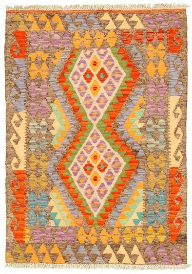 Bordered  Geometric Grey Area rug 3x5 Turkish Flat-weave 330228