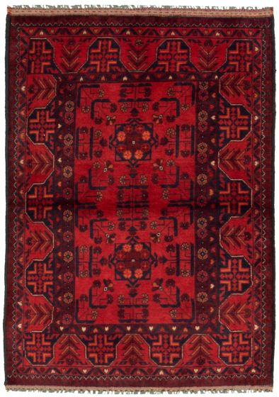Bordered  Tribal Red Area rug 3x5 Afghan Hand-knotted 330282