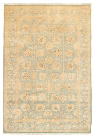 Bordered  Traditional Blue Area rug 5x8 Pakistani Hand-knotted 331614