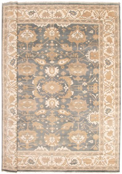 Bordered  Traditional Grey Area rug 12x15 Indian Hand-knotted 340774