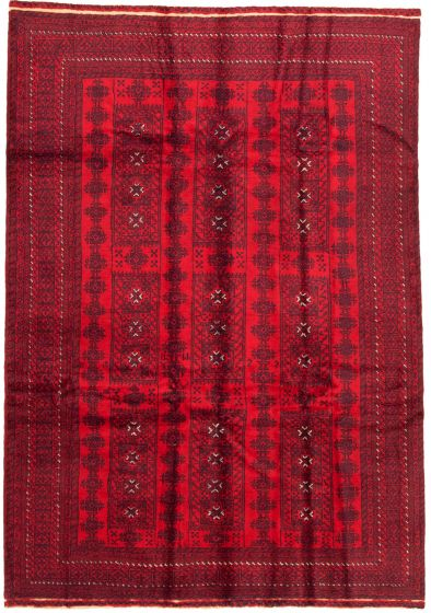 Bordered  Tribal Red Area rug 6x9 Afghan Hand-knotted 342656