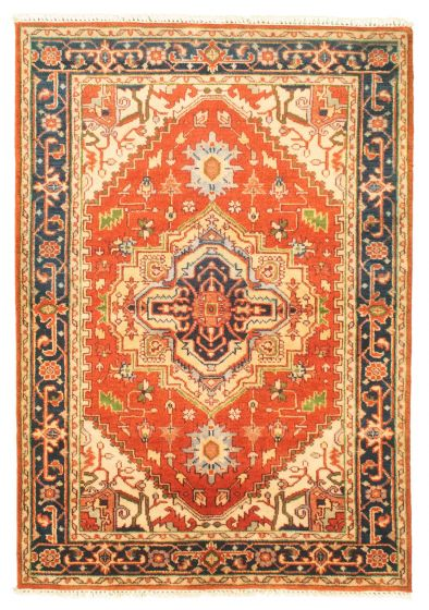 Bordered  Traditional Brown Area rug 3x5 Indian Hand-knotted 344854