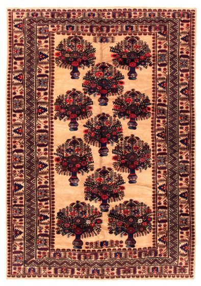 Bordered  Tribal Brown Area rug 6x9 Afghan Hand-knotted 348522