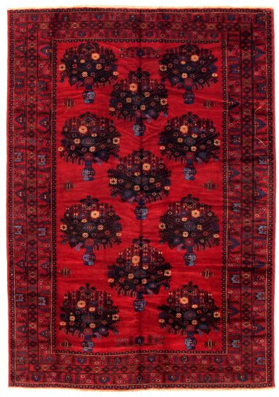 Bordered  Tribal Red Area rug 6x9 Afghan Hand-knotted 348523