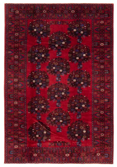 Bordered  Tribal Red Area rug 6x9 Afghan Hand-knotted 358226