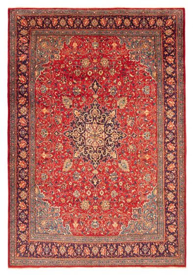 Bordered  Traditional Red Area rug 9x12 Persian Hand-knotted 366583