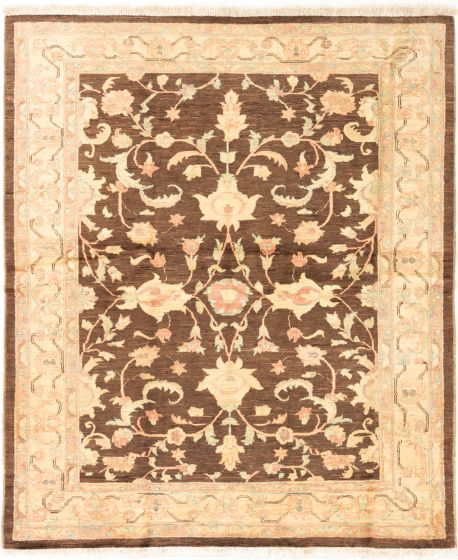 Bordered  Traditional Brown Area rug Square Afghan Hand-knotted 280245