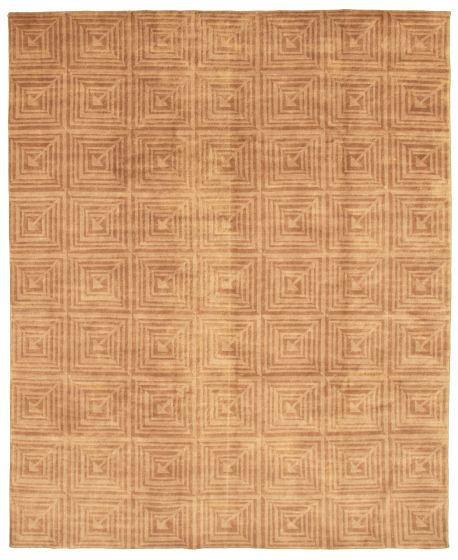 Transitional Brown Area rug 6x9 Nepal Hand-knotted 328530