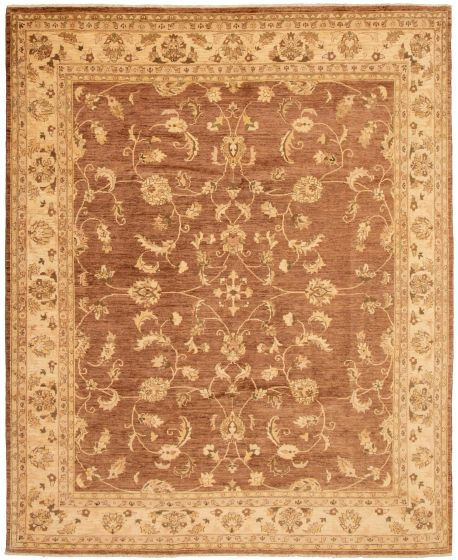 Bordered  Traditional Brown Area rug 6x9 Afghan Hand-knotted 330624