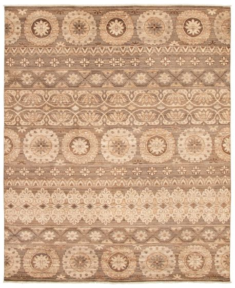 Casual  Transitional Brown Area rug 6x9 Pakistani Hand-knotted 338762