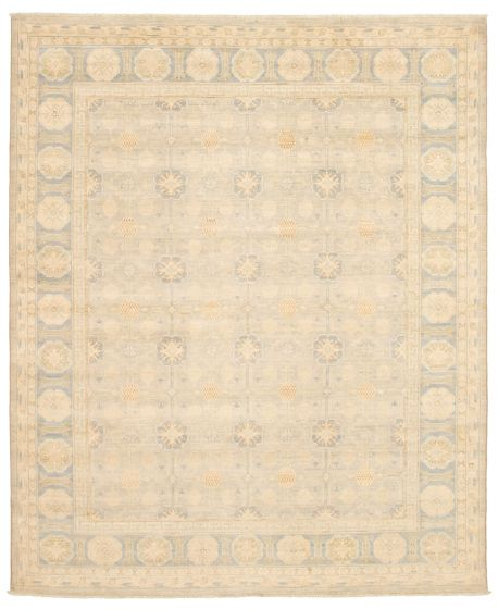 Bordered  Transitional Blue Area rug 6x9 Pakistani Hand-knotted 338772