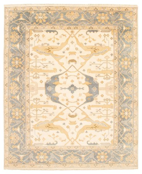 Bordered  Traditional Ivory Area rug 6x9 Indian Hand-knotted 344944
