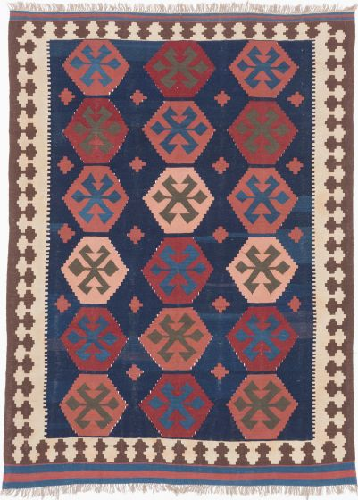 Traditional Blue Area rug 5x8 Persian Flat-weave 201719