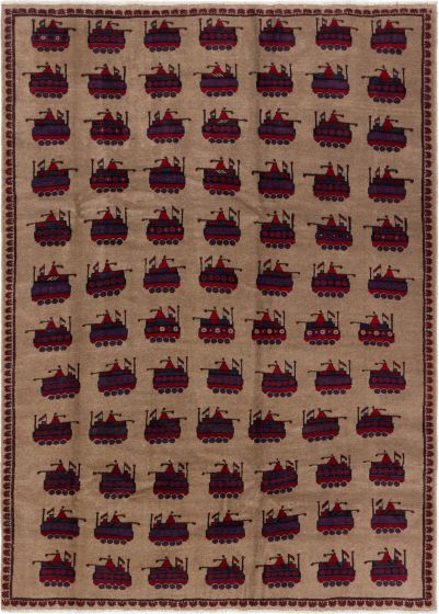Bordered  Tribal Brown Area rug 6x9 Afghan Hand-knotted 280210