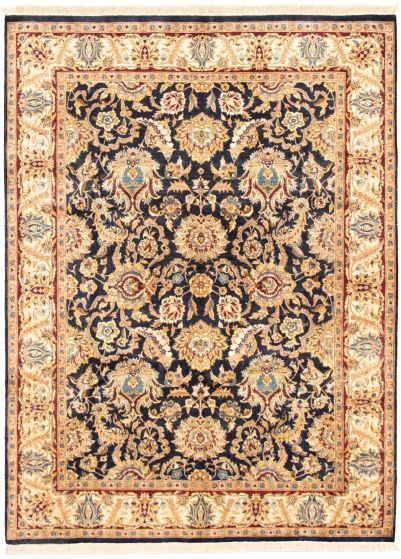 Bordered  Traditional Blue Area rug 5x8 Pakistani Hand-knotted 318353