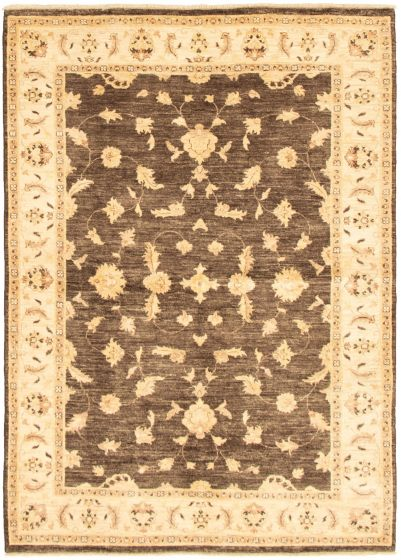 Bordered  Tribal Brown Area rug 5x8 Pakistani Hand-knotted 318414