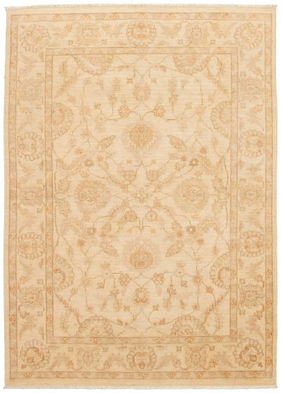 Bordered  Traditional Ivory Area rug 6x9 Pakistani Hand-knotted 330580