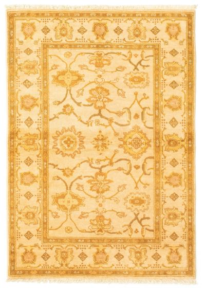 Bordered  Traditional Ivory Area rug 3x5 Afghan Hand-knotted 331289