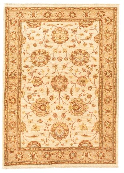 Bordered  Traditional Ivory Area rug 3x5 Afghan Hand-knotted 331320