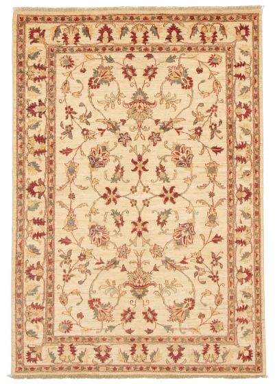 Bordered  Traditional Ivory Area rug 5x8 Afghan Hand-knotted 331478